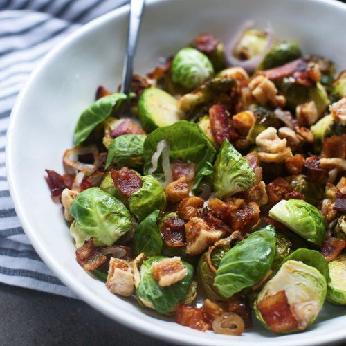 Bacon and Brown Sugar Roasted Brussels Sprouts With Shallots and Dried Figs