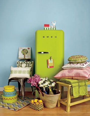 Chartreuse Refrigerator?  Yes Please. Looks hard to get to though. . .