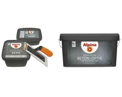 Alpina Effektfarbe Beton-Optik Komplett Set grau ink. Alpina-Kelle