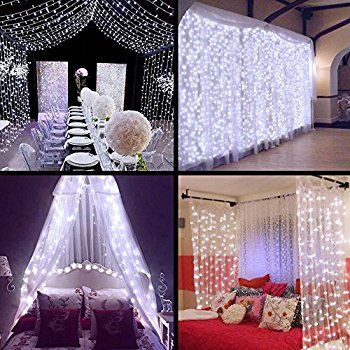 Ollny Curtain Window Icicle Decorative Lights Fairy String Lights for Wedding Christmas Party Backdrops Home Outdoor Decorations 9.8ft x 9.8ft 300 LEDs 8 modes Cool White: Amazon.co.uk: Kitchen & Home