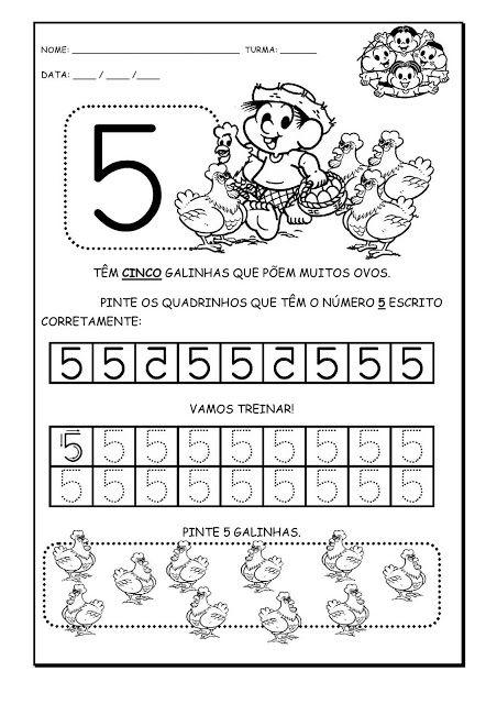 Alfabetizando com Mônica e Turma: Atividades com Números - Chico Bento - 1 a 5