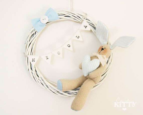 Bunny wreath - Newborn baby boy nursery decoration - Fiocco nascita o decorazione cameretta - customisable name on bunting on Etsy, $41.03