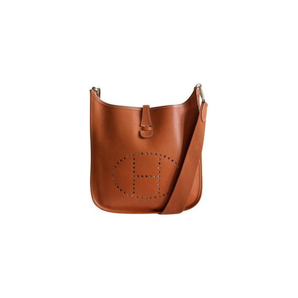 HERMES - HERMES 'Evelyn' sienna bag with palladium hardware ❤ liked on Polyvore