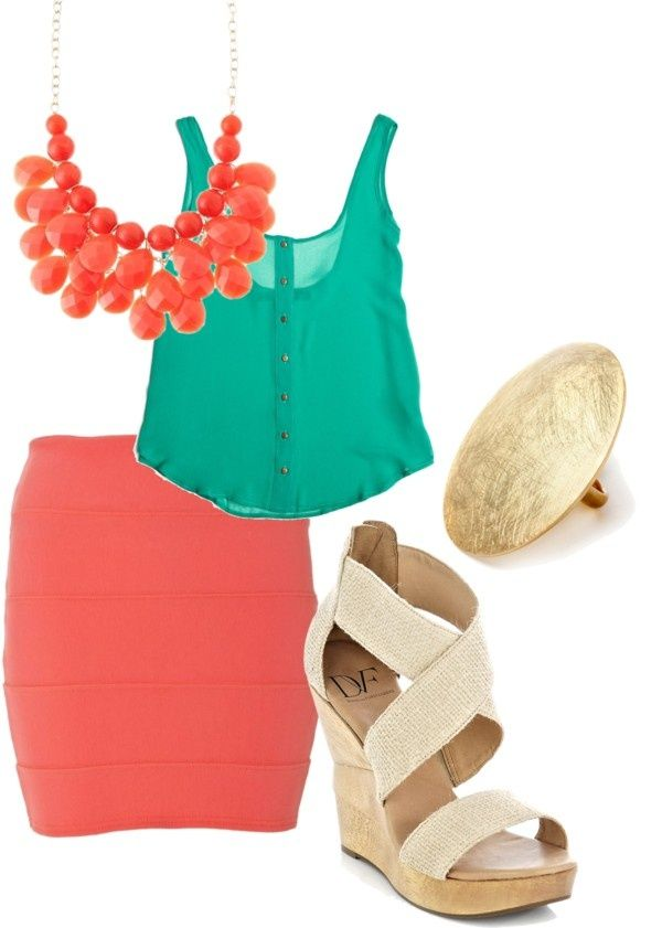 outfit: turquoise thick-strapped cropped sheer buttonup shirt, coral tight-fitting miniskirt, coral gemstoned necklace, gold oval ring, cream / gold sandal platform wedges