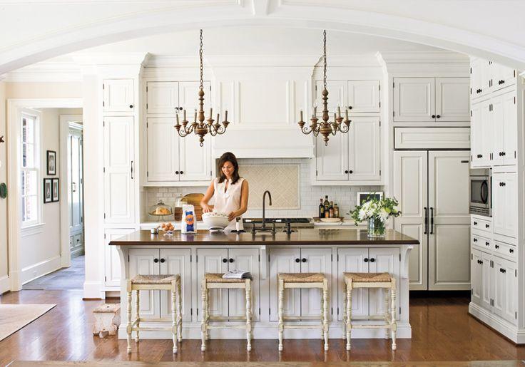 Sevier & White Interiors Portfolio: Kitchens Design, Southern Living, Dreams Kitchens, Kitchens Ideas, Kitchens Islands, House, Bar Stools, White Cabinets, White Kitchens