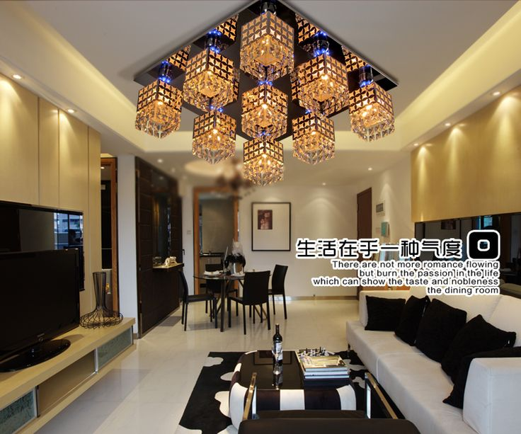 Aliexpress Buy Crystal Ceiling Light Modern Square Lamp 9 Led