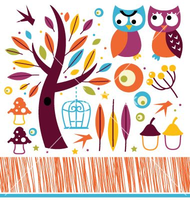 Cute autumn owls and design elements vector 1512442 - by lordalea on VectorStock®
