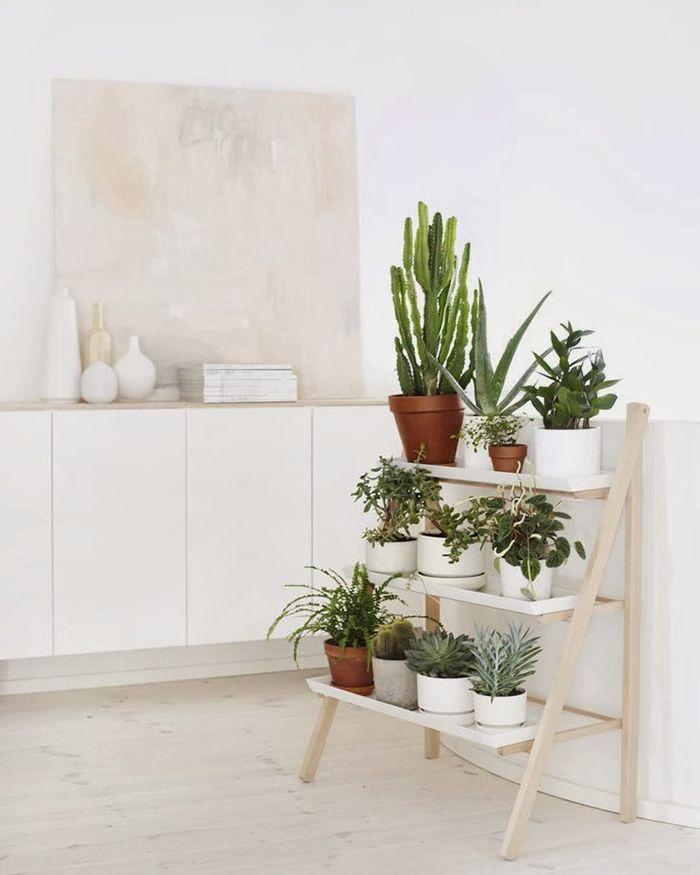 Pequeña escalera para decorar con plantas un luminoso y claro salón