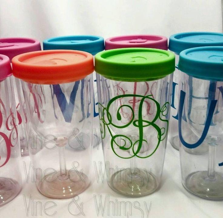 Monogram Non Spill Plastic Wine Glasses Vino Tumbler Sippy Orange Lid 9oz design #Unbranded