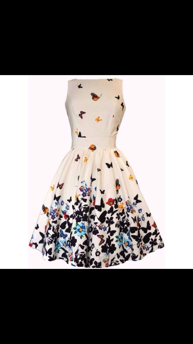 Off white dress with colorful butterflies. Gorgeous