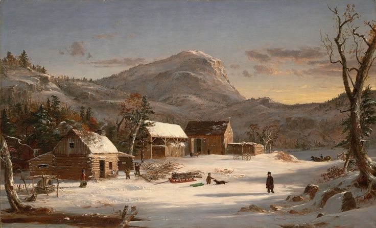 Jasper Francis Cropsey, Winter Scene—Ramapo Valley, 1853. Oil on canvas, 22 x 36 1/8 in. Gift of George H. Clark 1901.37