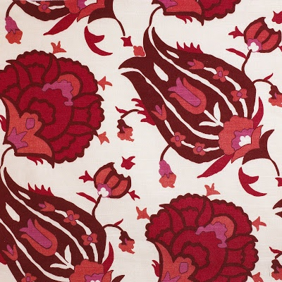 """Turkish Flower,"" in red on linen, an original David Hicks design inspired by a silk kaftan in the Topkapi Palace wardrobe."