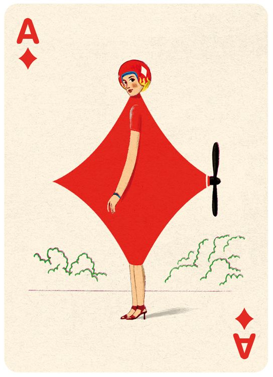 Ace Diamonds Playing Card Illustration by Jonathan Burton