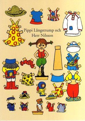 Postkarte A4, Pippi anziehen