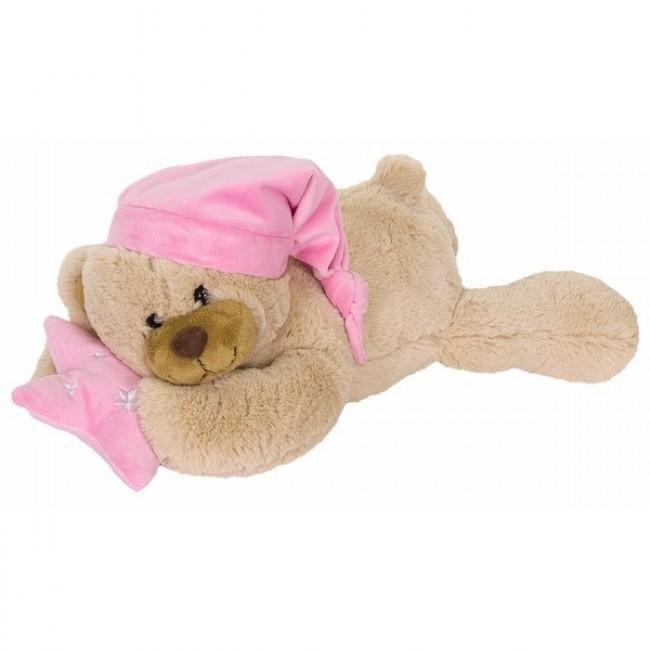 Een slaperige beer, met een roze stervormig kussen in haar handen en een roze slaapmuts op haar hoofd. Lekker zacht en knuffelig om mee in slaap te vallen.