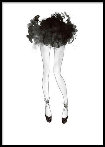 Poster med illustrasjon av ballerina og svart kjole. Sort og hvid plakater og posters. www.desenio.no
