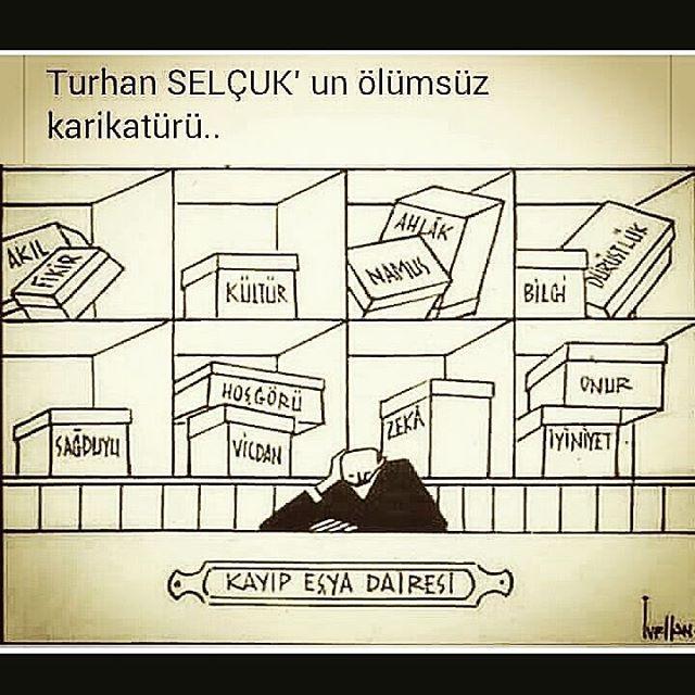"""Turhan Selçuk'un manidar karikatürü; """"Kayıp Eşya Dairesi"""" #sağduyu"""