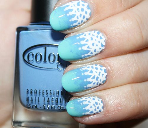 We love nail art inspired by fashion—especially when it's something we actually might be able to achieve ourselves. This lovely ombre plus lace version is inspired by the Chanel Resort 2012 collection.