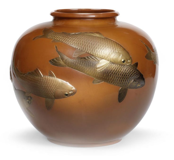 An inlaid copper vase By Hokoku, dated 1938 The large, squat ovoid vase with short, everted neck decorated with a shoal of fish swimming near the surface, the fish worked in different shades of gilt and copper takazogan; with separate wood stand and tomobako titled Suaka koi Chokoku iri kabin (high purity quality copper vase with carving of carps), the inside of the lid signed and dated by the artist Showa jusan nen sangatsu kichijitsu Hokoku saku