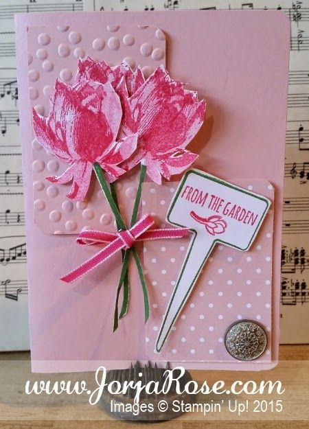 """By Kathe Oldham for """"The JorjaRose Files"""", Stampin' Up! stamp sets """"Lotus Blossom"""" and """"From The Garden"""" + """"Handpicked"""" Framelits ..."""
