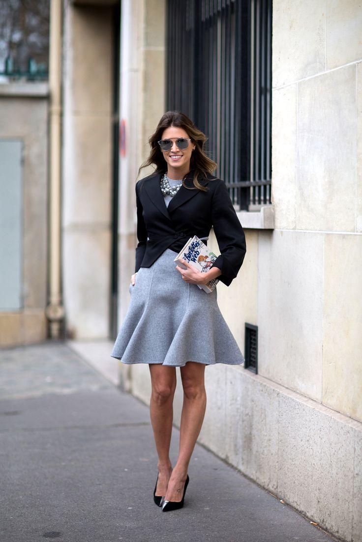 fluted gray skirt dress and blazer