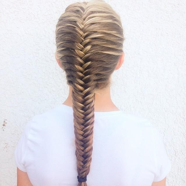Look how neat and straight this french fishtail braid by for Fish tail hair