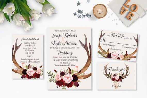 Deer Antlers Burgundy Printable Wedding Invitation Suite Marsala Floral Autumn Wedding Invite Set Skull Horns Fall Digital Invite - WS035  Wedding invitation in marsala, burgundy, pink color palette with flowers and deer antlers on a white watercolor background. This wedding invite has coordinating RSVP, Details (Accommodation) card and Thank you note. There are a number of files offered, but if you dont see the combination you want, please contact me so I can make a custom listing for you…