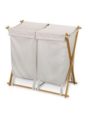 Household Essentials  Fir Wood X-Frame Double Hamper - Online Only