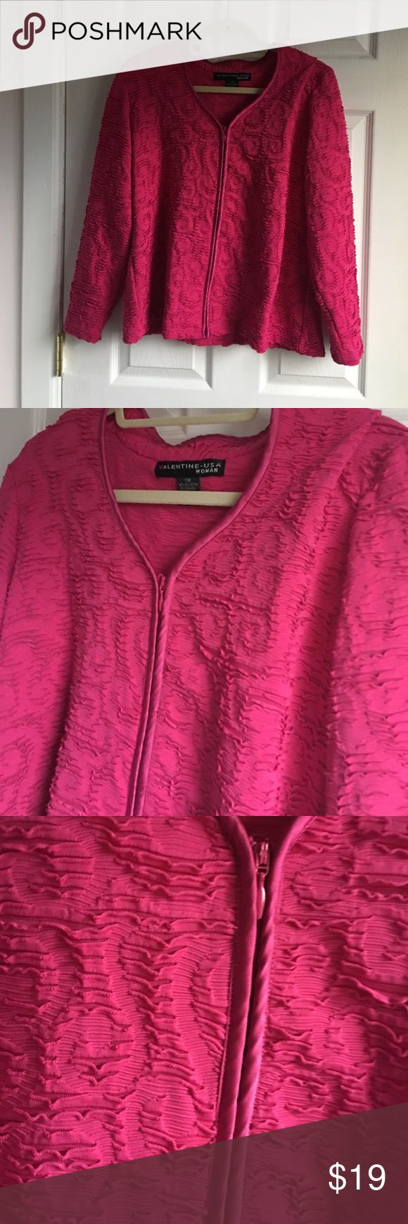 Magenta zippered dressy jacket Gorgeous magenta color. Zippered. Stretch material Jackets & Coats