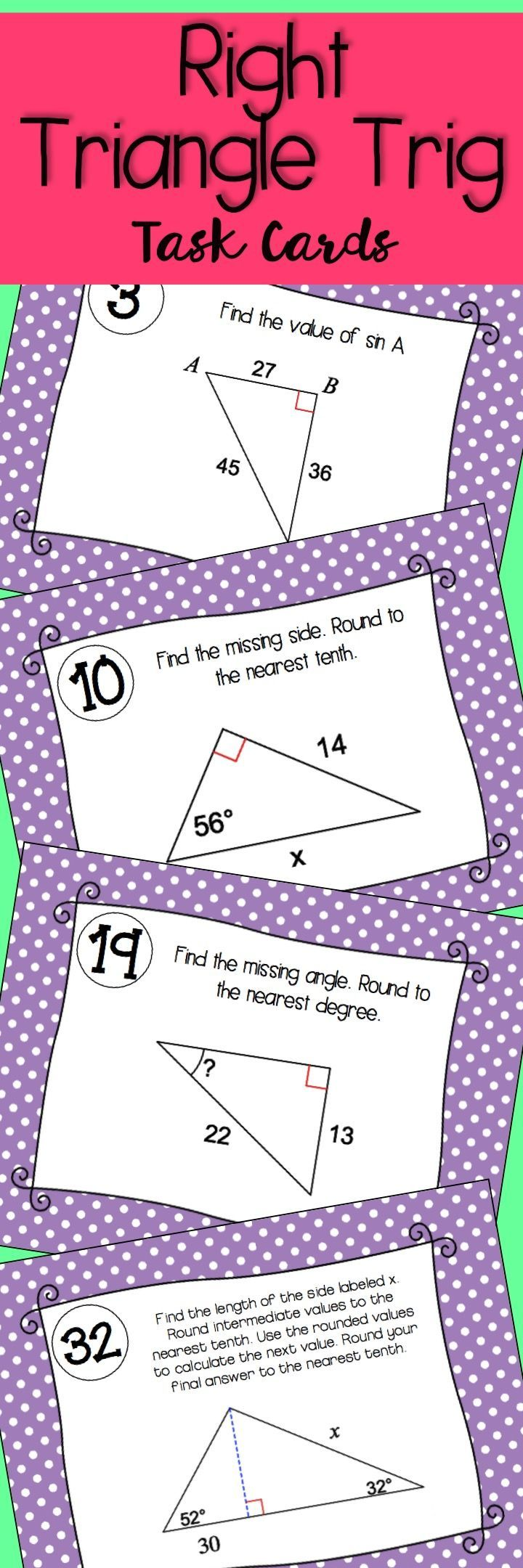 Right Triangle Trig Task Cards Since Cosine Tangent Task Cards Math Task Cards Right Triangle