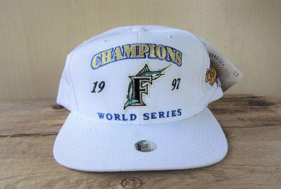 Florida MARLINS 1997 World Series CHAMPIONS Vintage 90s white snapback hat 1997