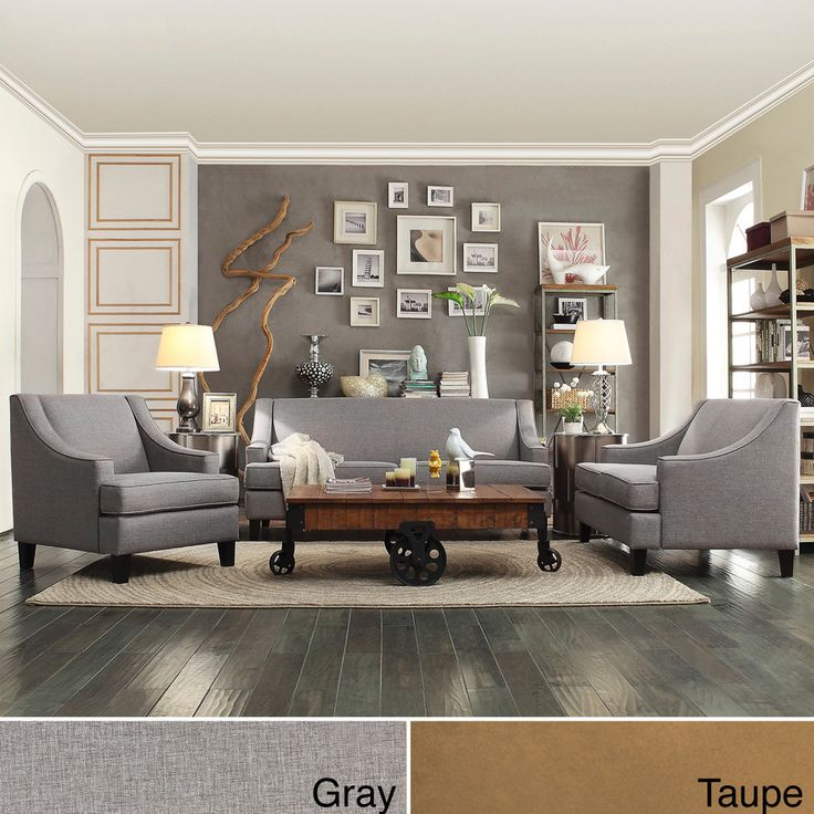 The sleek modern styling and neutral color of this taupe living room set make it an excellent choice for a contemporary home. The set includes one sofa, one love seat, and an arm chair. Polyurethane foam padding provides plush comfort.