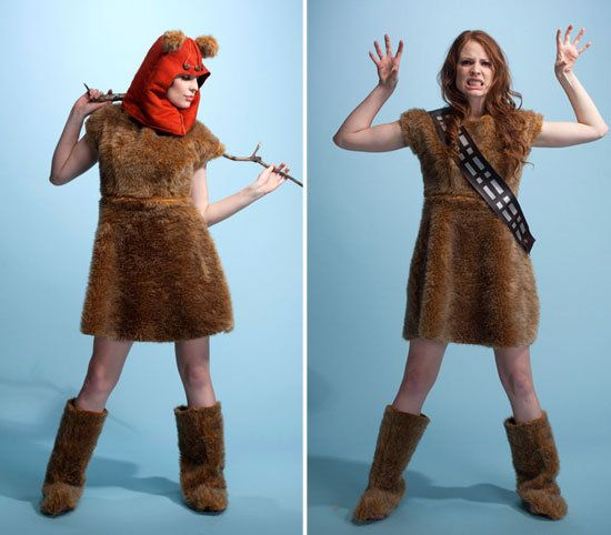 Halloween morning you wake up feeling the cuddly, teddy-bear attitude of an ewok, so you slip on the fuzzy hood included with the Star Wars faux fur dress ($150). But by night, the urge to take on the Empire is strong, and transform into a warrior wookie, you must. The choices are yours in this Nerd Alert Designs dress.