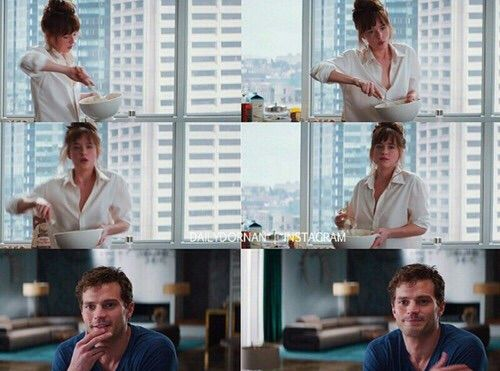 Fifty Shades of Grey scenes Jamie Dornan and Dakota    Did you see #FiftyShadesofGrey in theaters? want a copy of the DVD? http://50shadesgray.com/product/fifty-shades-grey-dvd
