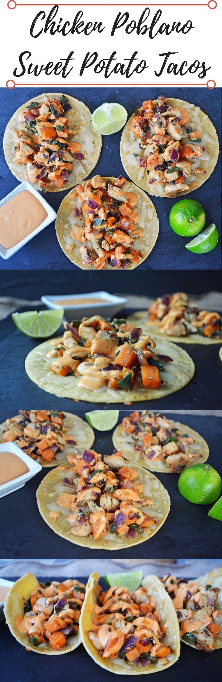 Chicken Poblano Sweet Potato Tacos are a gluten-free, quick and easy dinner. Made by sauteing lean chicken breast, poblano peppers, red onion, and sweet potatoes in mexican spices. Topped with homemade chipotle lime cream and pepper jack cheese. Flavorful and healthy mexican dinner!