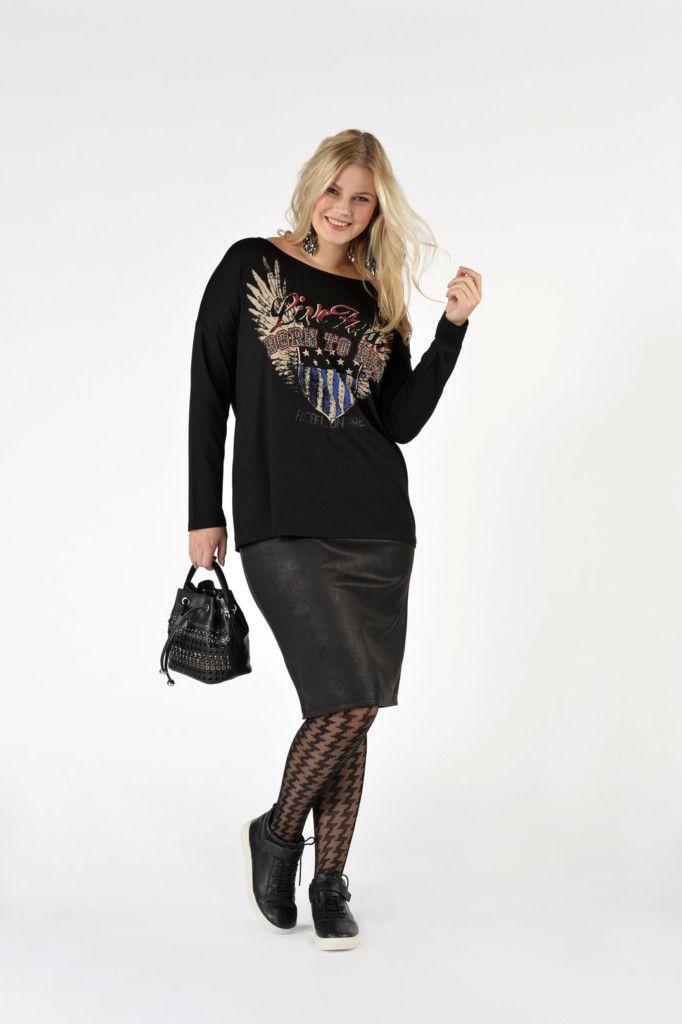 Miss Yoek, strakke rok met sweater, zwart, grote maten