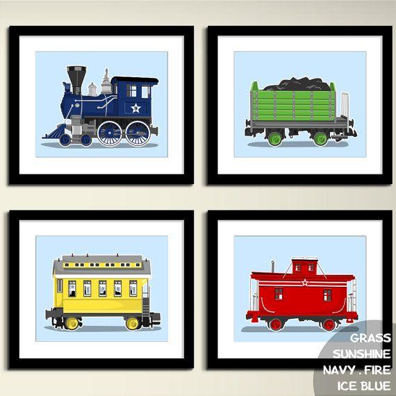 Vintage Train wall art  transportation wall art by PaperLlamas, $45.00