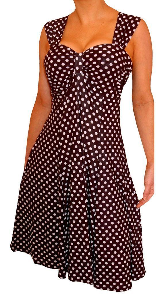 Funfash Womens Plus Size Black White Polka Dot Empire Waist Cocktail Dress