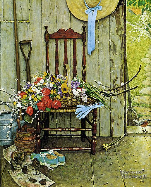 1969- Spring Flowers - by Norman Rockwell