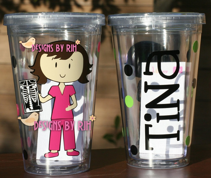 Personalized Nurse Tumbler -  Dental Hygienist, X-Ray Tech - Travel Cup -