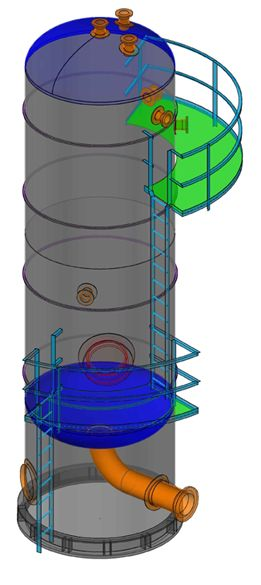 Here is my latest CADWorx Equipment Model i did just warming up for more Modeling to come at my new job. It's a Vertical Vessel with Manway, a couple of platforms. Notice the Skirt Access and Skirt Opening with Repad. This was just a warmer upper, I'm glad to be back using CADWorx Plant Pro & CADWorx Equipment.
