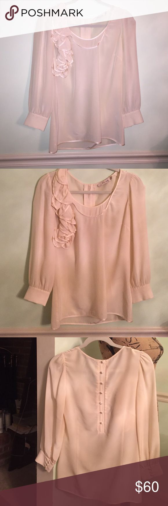 Reiss  blush blouse   3/4 length  silk size 4 100% silk blouse with gorgeous 3D floral detail along the right shoulder/chest and bottons  down the back and on the cuffs in a perfect condition  very elegant band classic Reiss Tops Blouses