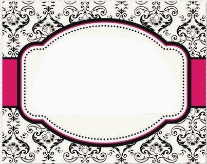 Black and White Damasks: Free Printable Toppers and Labels.                                                                                                                                                     Más