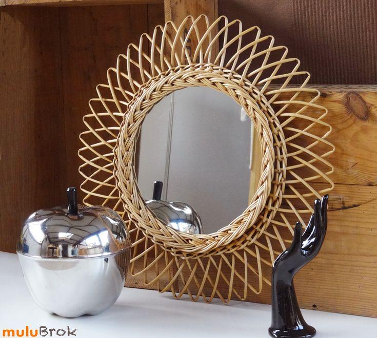 d co vintage joli miroir soleil en rotin osier pomme en m tal argent main porte bijoux. Black Bedroom Furniture Sets. Home Design Ideas