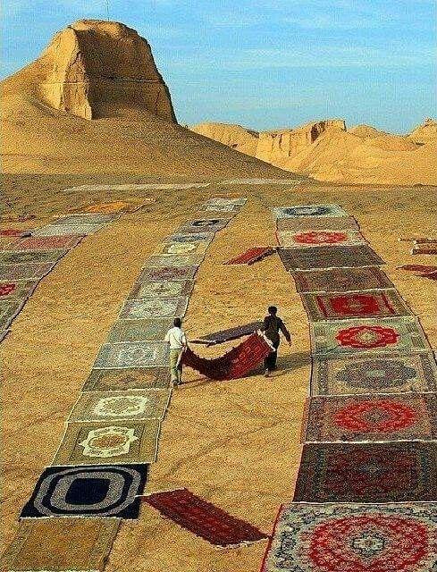 Kerman persian Rugs in Shadad Desert Kerman, Iran