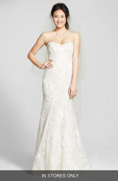 BLISS Monique Lhuillier Strapless Beaded Lace Trumpet Gown (In Stores Only) available at #Nordstrom