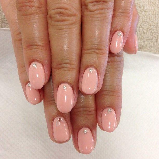 Beige color gel with gems. Simple cute gel nail designs!