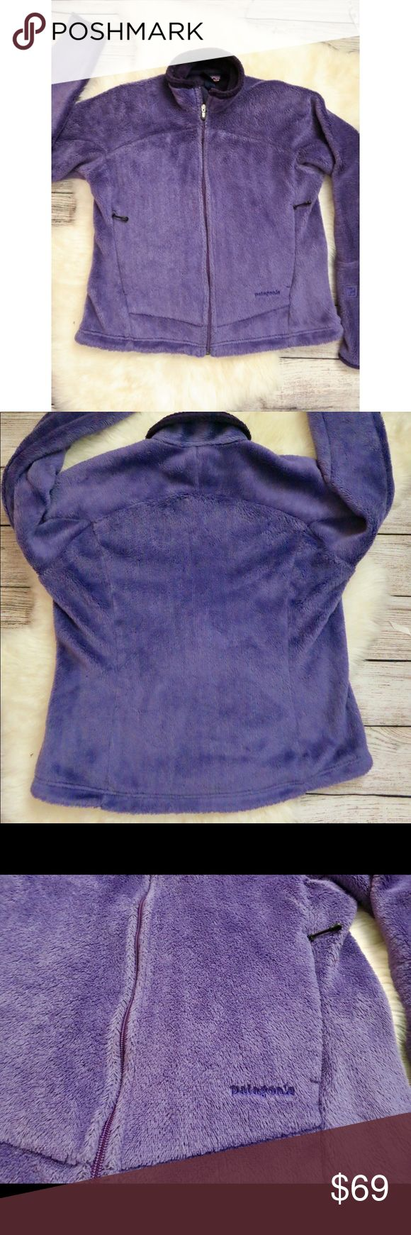 """Patagonia R2 hi-pile fleece jacket purple medium R2 fleece that's super fluffy and cozy. Polartec brand fleece. Good usedcondition. No flaws to note. Tag was cut out but i believe it's a medium (measures 22"""" across) so please check. Purple color. Patagonia Jackets & Coats"""