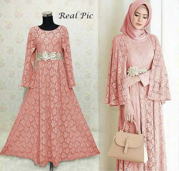 Model Gamis Renda Brokat Terbaru Dress Brukat Dress Muslim Modern Model Dress