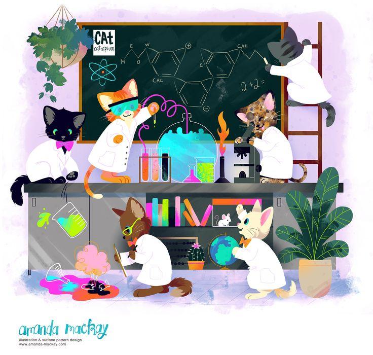 Crazy Smart Scientist Kittens - by Amanda MacKay Illustration